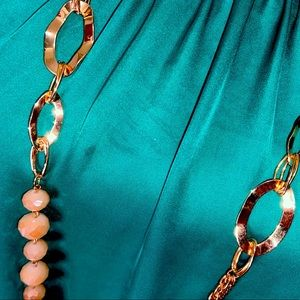 NWT Long Gold & champagne necklace & earring set.